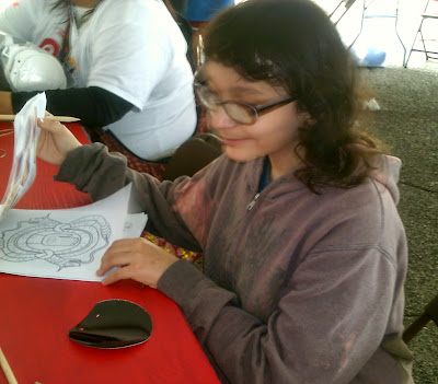 My Daughter inside the Youth Tent, at 2015 Artesian Art Festival.