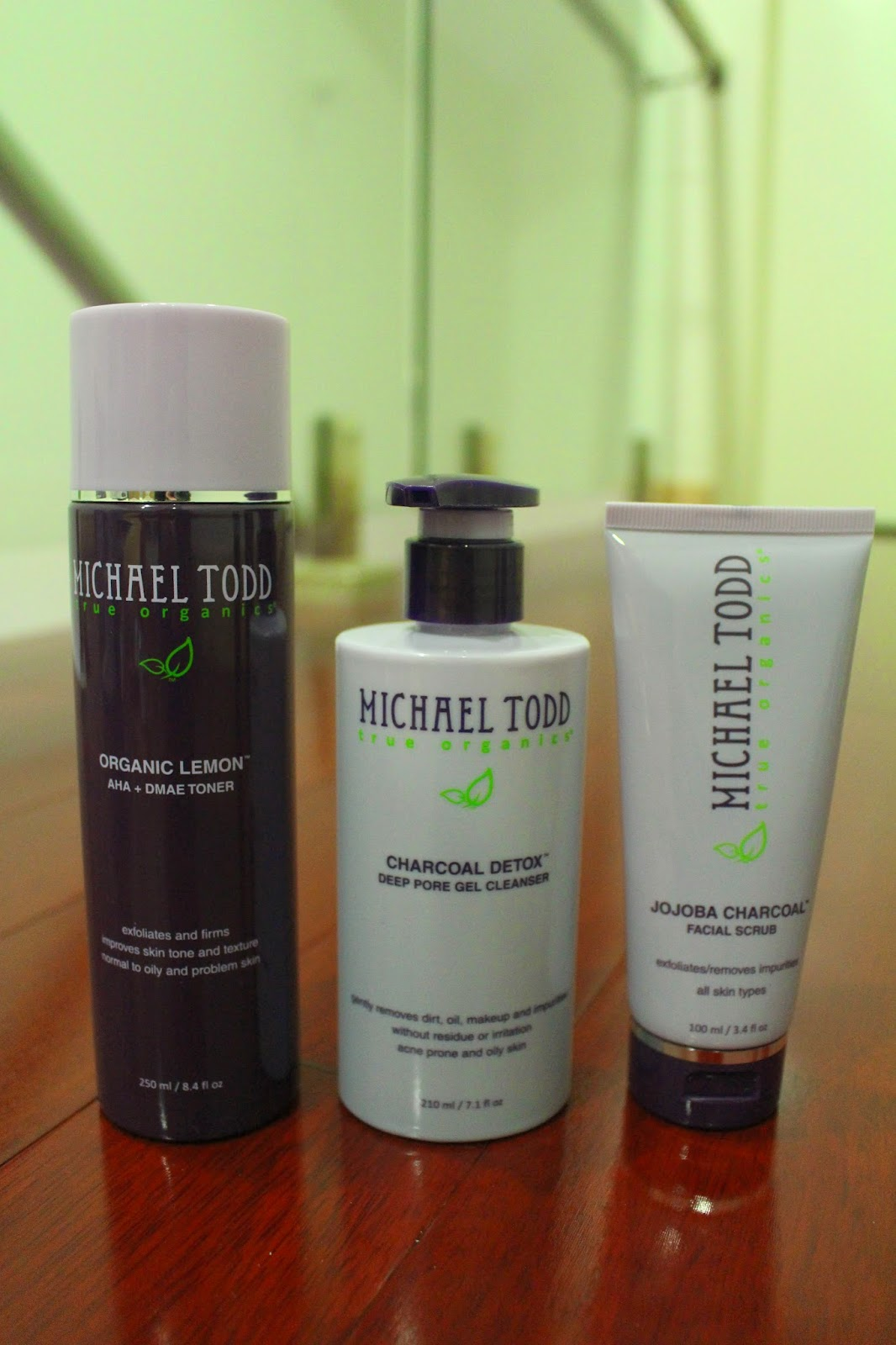 Michael Todd Charcoal Detox Deep Pore Gel Cleanser, Jojoba Charcoal Facial Scrub and Organic Lemon AHA + DMAE Toner