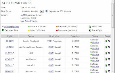 Programación de salida de vuelos del aeropuerto de Lanzarote