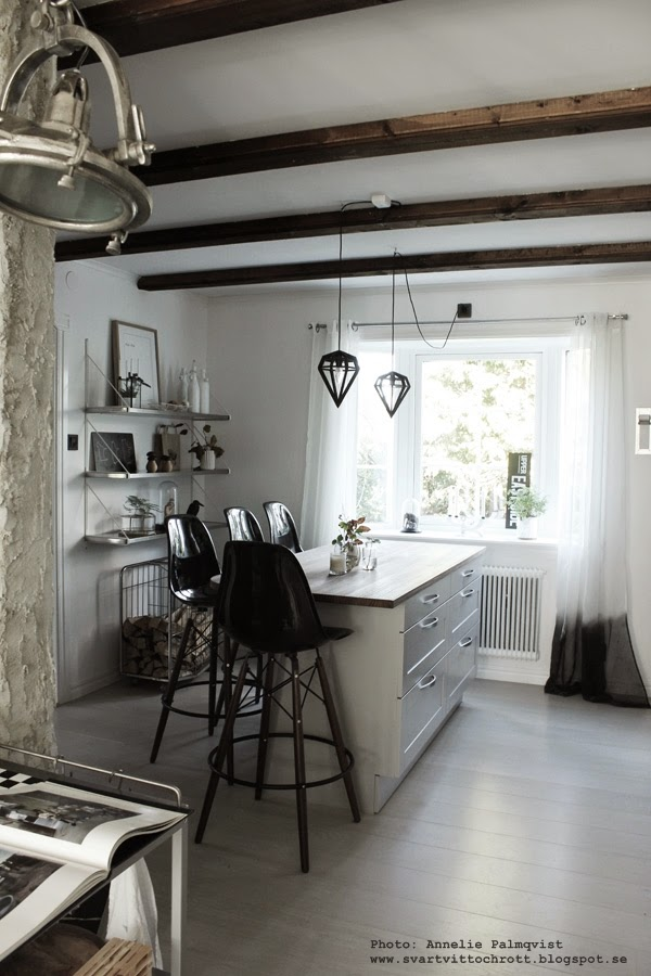 inredning, inredningsblogg, inredningsbloggar, blogg, bloggare, kök, köket, svart och vitt, svartvita, gardin, gardiner, fönster, vedförvaring, ved, stapla ved, förvaring, detaljer, dekoration, höst, hösten,