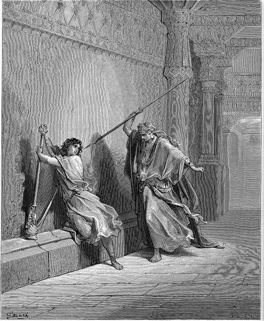 Une histoire abrégée de l`Ancien Testament – (avec images et cartes géographiques) Dore_SaulAttemptsTheLifeOfDavid