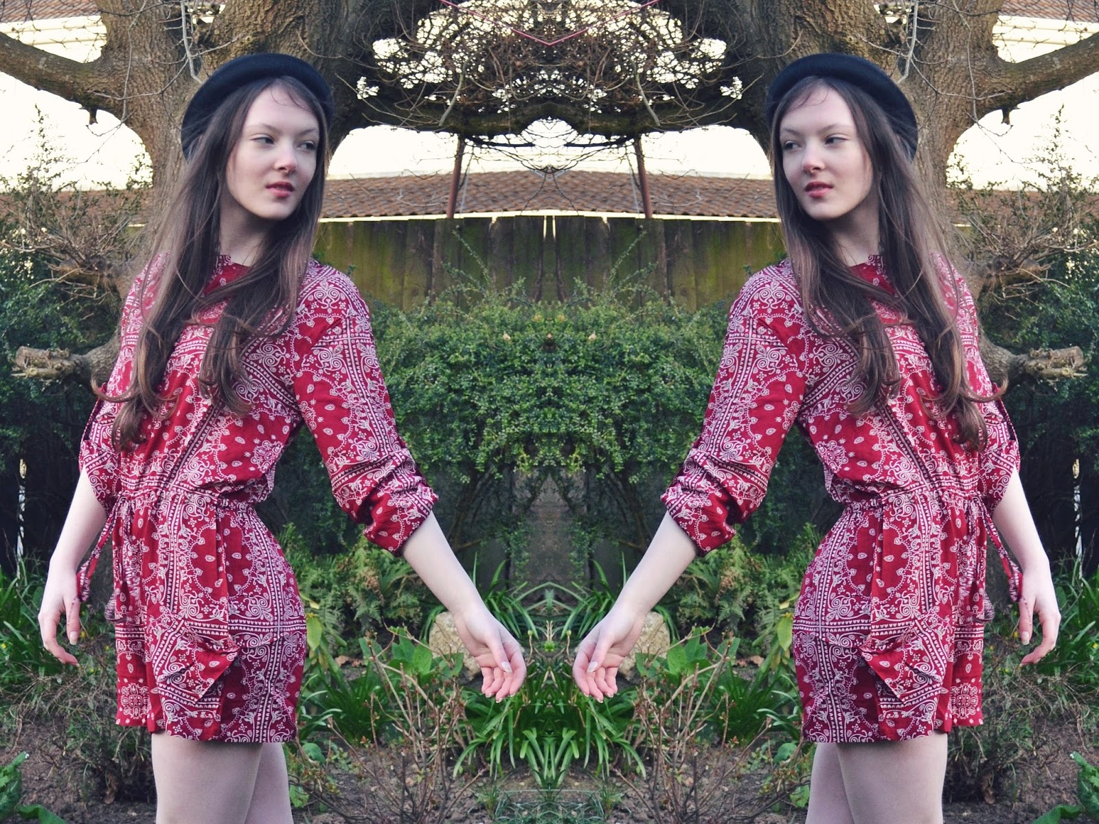 lunar look 70s boho print playsuit