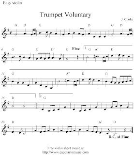 Trumpet voluntary free violin sheet music notes