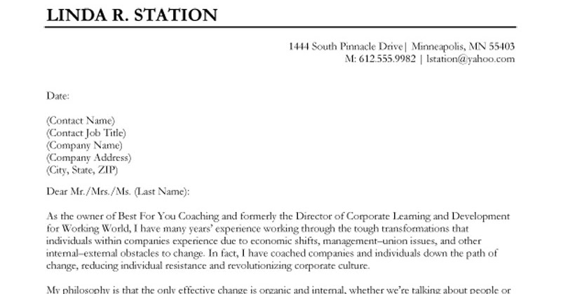 Sample cover letter for work study