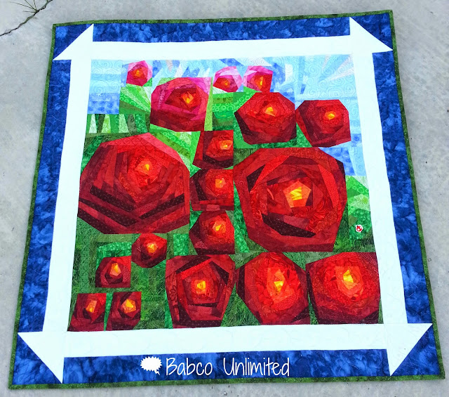 BabcoUnlimted.blogspot.com -- I Looked Out the Window Quilt Challenge, Paining the Roses Red Quilt