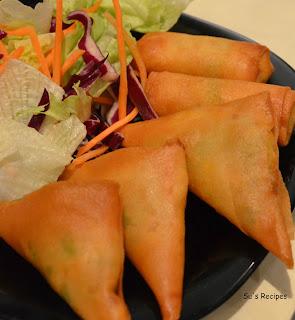 Veg Cheese Samosas and Rolls