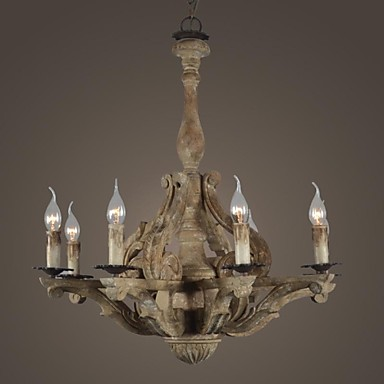 Lámpara Vintage de Madera Rústica con Candelabros