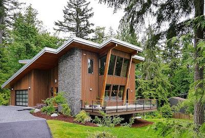 Dise o de casa moderna en la monta a rodeada de vegetaci n for Casas modernas economicas