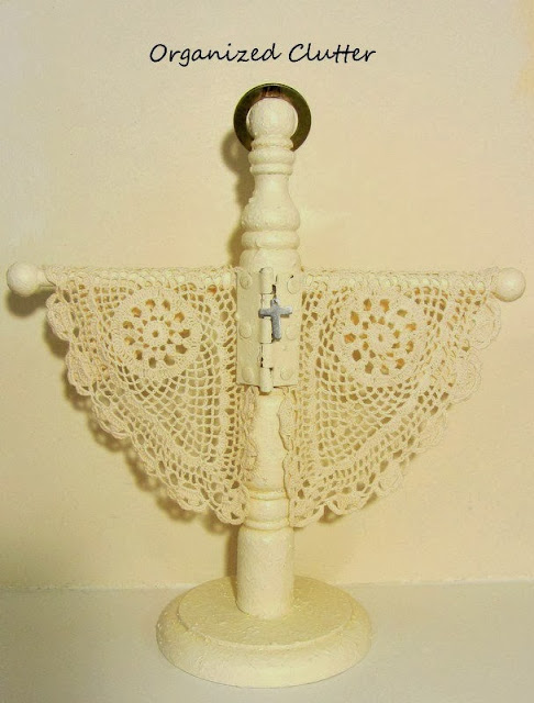 Shabby Angel from Re-purposed Towel Stand www.organizedclutterqueen.blogspot.com