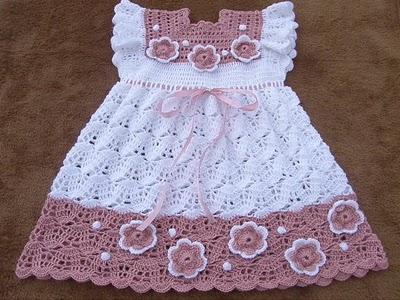tig ile islenen motifli kiz bebek orgu elbisleleri Tığ İle İşlenen Kız Bebek Elbise Modelleri