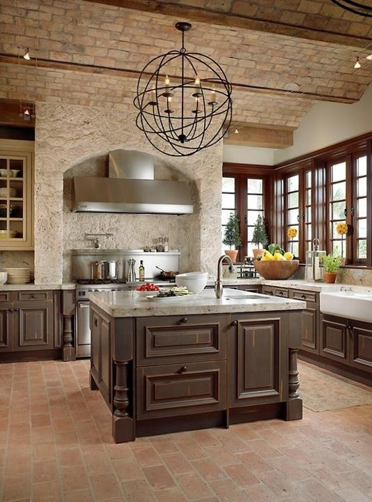 Modern furniture traditional kitchen with brick walls for Traditional home kitchen ideas
