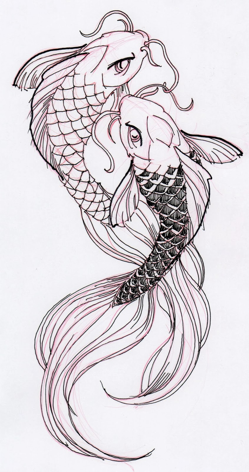 Koi fish drawing outline - photo#9