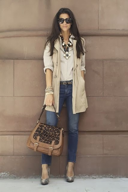 Blue Jeans, Cream Color Coat And Leopard Handbag