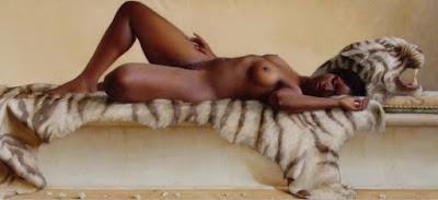 Pintura Hiperrealista Mujer Negra Desnudo Artistico
