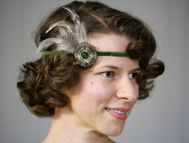 Flapper headband with moss green velvet ribbon by ChatterBlossom