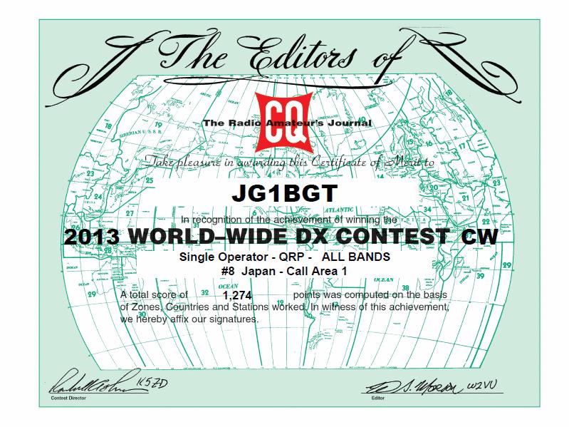 CQ WW DX 2013 certificate JG1BGT