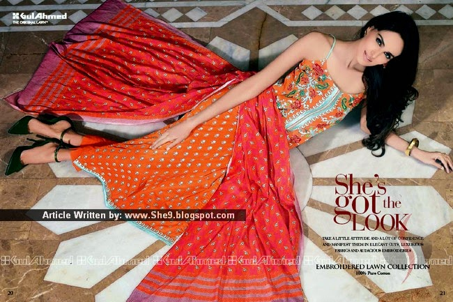 Embroidered Lawn Collection 2015 Launched by Gul Ahmed