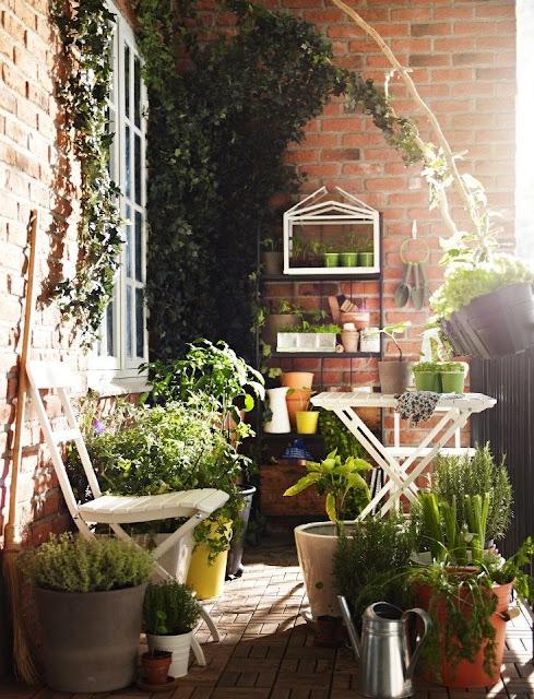 Shabby Chic mit Pflanztisch und Blumenregal auf Terrasse & Balkon