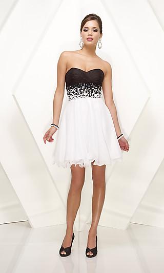Strapless+Black+And+White+Short+Dress