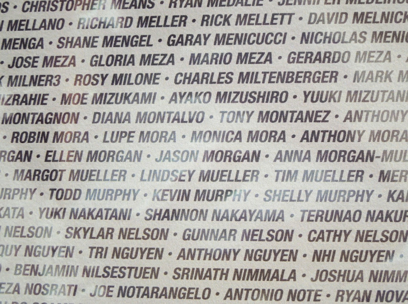 Asics LA Marathon runners name wall