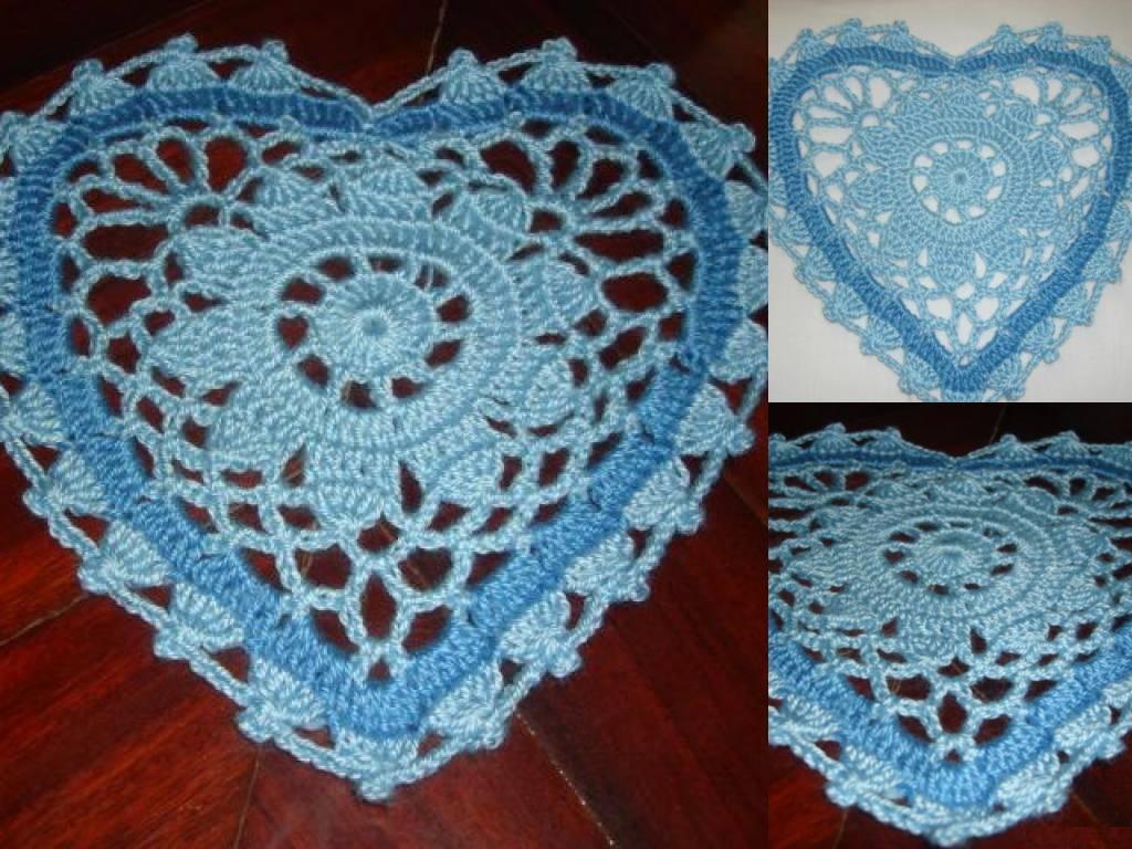 Mossita bella crochet y tejido tapete de coraz n - Como hacer tapetes de ganchillo ...