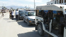 Cite Soleil, Haiti 2011: UN trucks arrived to monitor the water distribution