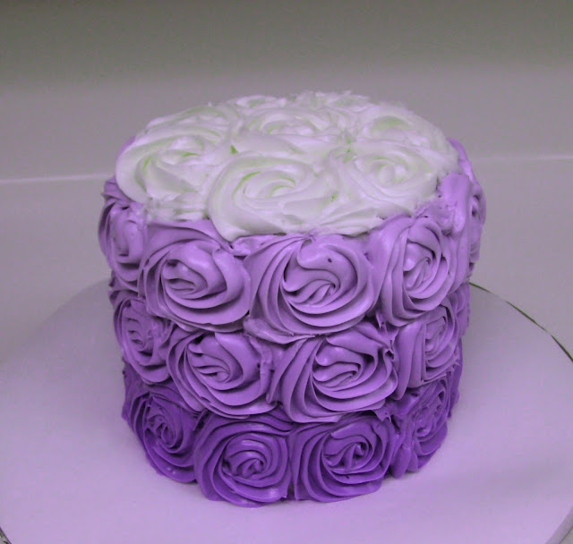 Purple Ombre Rose Cake 1