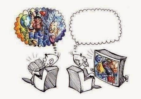 książka, tv, czytanie, oglądanie, myślenie