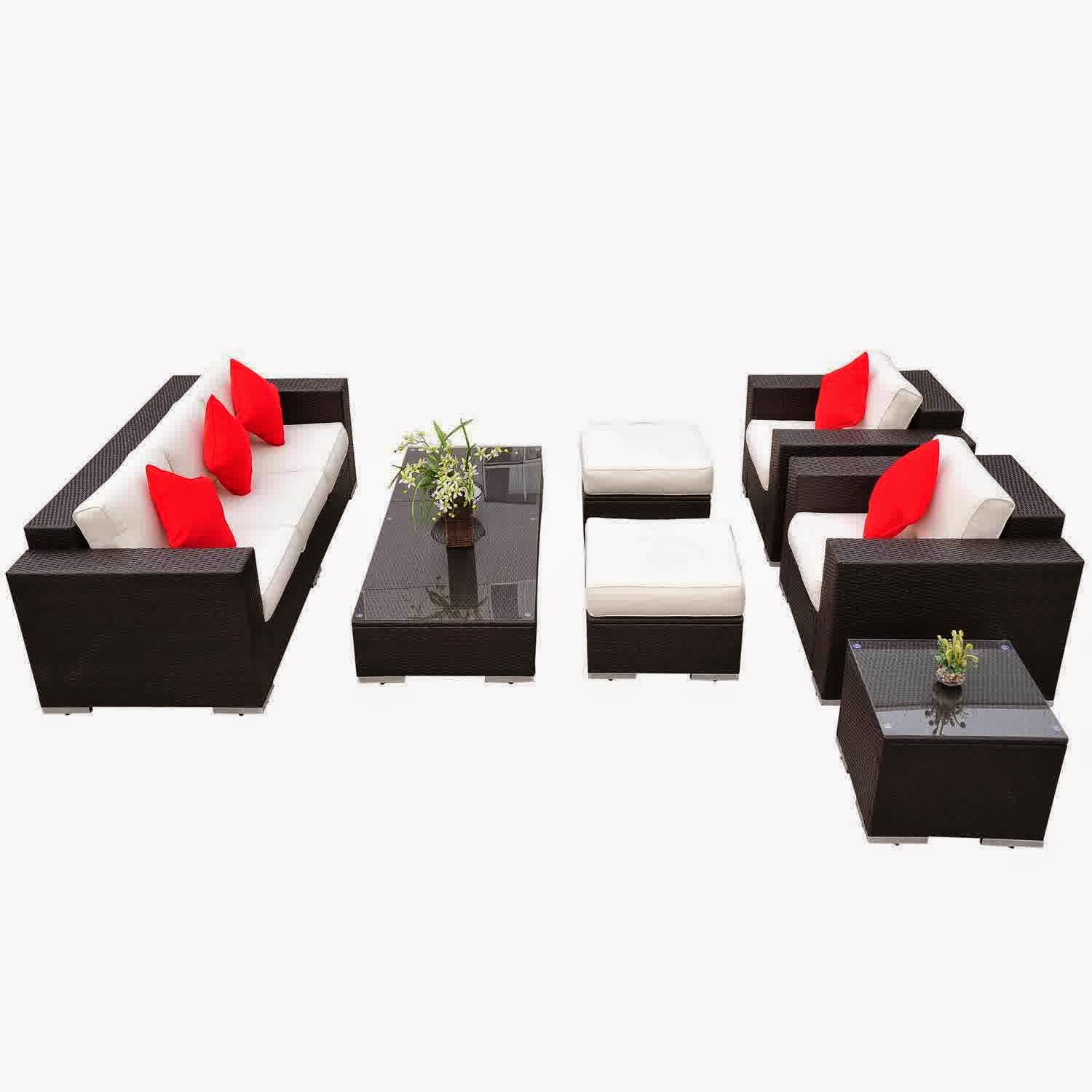 Outsunny 7pc Pe Rattan Wicker Sectional Patio Sofa