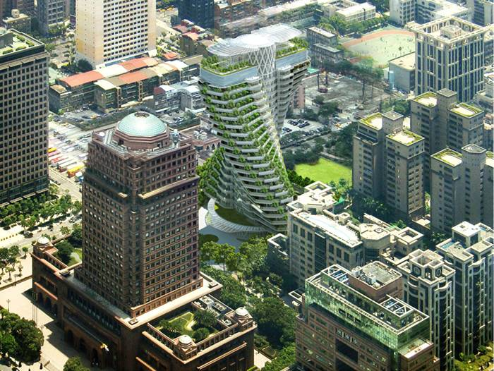 On the last and biggest parcel of land available for residential use in taipei city, vincent callebaut 's twisting, foliage-filled 'agora tower' will preside over the rest of the urban xinyin district. the architect, known for his distinct eco-vision, has designed a high-density space that aims at limiting the ecologic footprint of its inhabitants by forging a symbiotic relationship between the urban dweller and nature. tall planted balconies of suspended orchards, organic vegetable gardens and and medicinal greenery will take root in the high-performance building. in true cradle-to-cradle fashion, even the construction process transforms itself; industrial waste will be returned as a 'technical nutrient' to be indefinitely recycled. the helicoidal towers appropriate their form from the structure of DNA, conceptually speaking to the building blocks of life, as well as dynamism and twinning. four types of housing units form a full level allowing their twisting forms to optimize space for open-air hanging gardens. the angled apartments additionally offer exceptional views of the bustling city by multiplying the transversal views of the overall east-west rhomboidal pyramid. corbelled floors provide structure and privacy.
