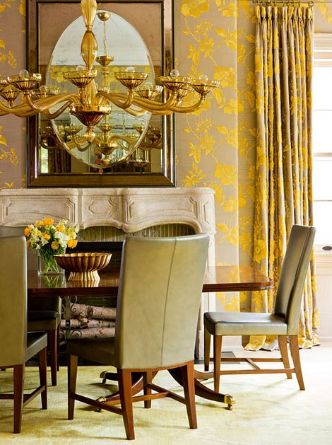 Curtains Ideas curtains matching wallpaper : Heart of Gold: Inspiring Interiors - Yellow Touches
