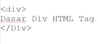 Dasar Div HTML tag
