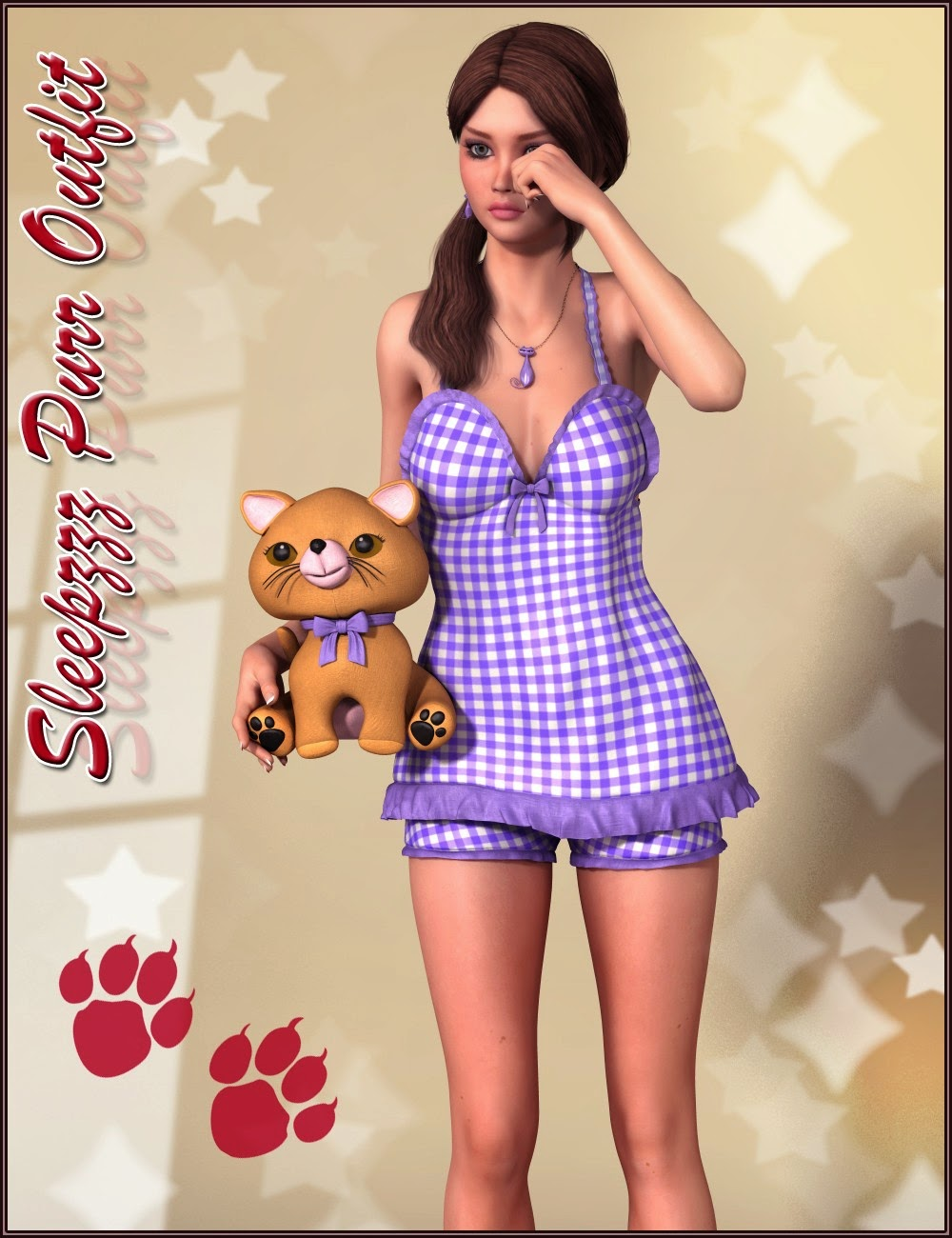 3d Models Art Zone - Sleepzzz Purr Outfit and Accessories