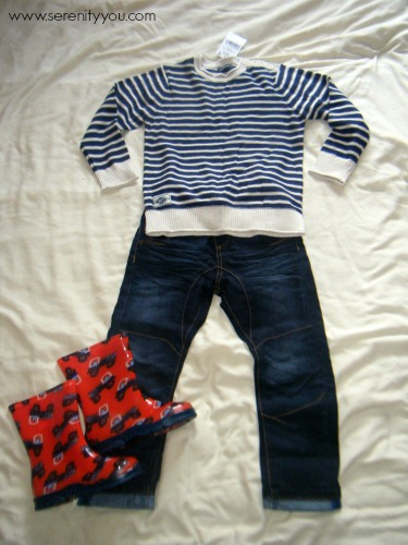 Ecru & navy striped jumper, jeans and red truck wellies from NEXT