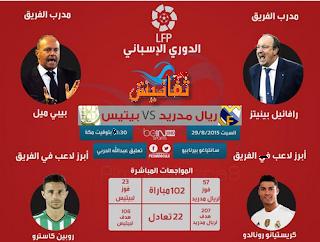 بث مباشر ريال مدريد وبيتيس اليوم 29-8-2015