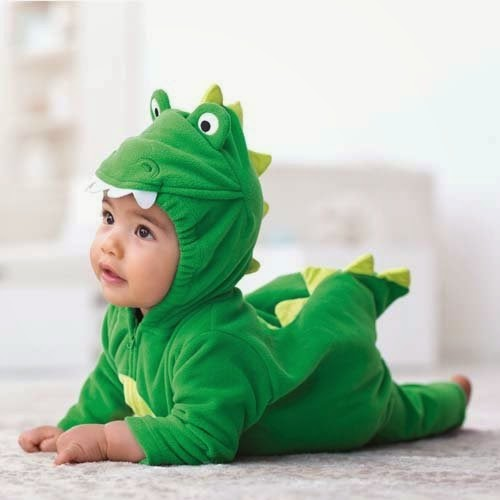 Dinosaur Baby Costume. Dinosaur Baby Costume includes a pink and orange plush jumpsuit with zipper front closure and matching hood. This comfy and cozy costume is available in child sizes (24 months), (2t), (3t) and (4t).