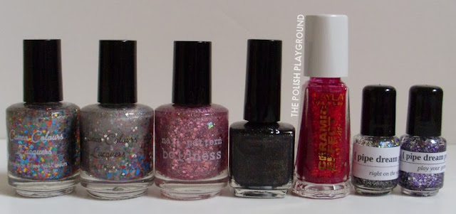 Cameo Colors Lacquers, Nail Pattern Boldness, Glitter Gal, Layla, Pipe Dream