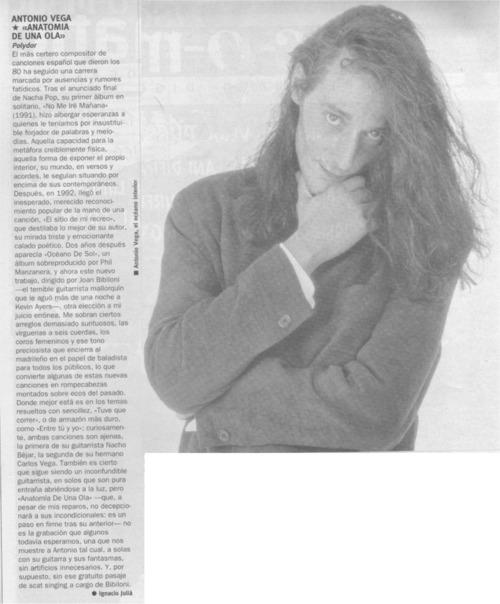 Prensa Recortada Nuevaola80: Antonio Vega. \'Anatomía de una ola\'