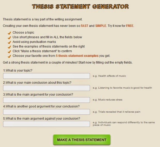thesis statment generator Thesis statement guide results thesis statement model #1: sample thesis statement parents should regulate the amount of television their children watch thesis statement model #2: thesis with concession notice that this model makes a concession by addressing an argument from the opposing viewpoint first, and.