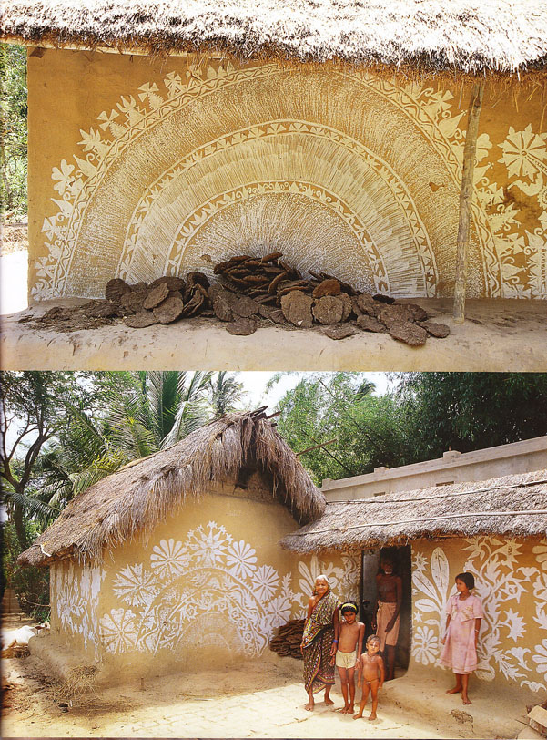 Indian interiors painted mud huts