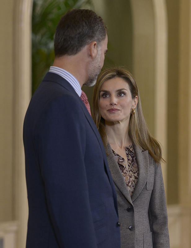 King Felipe VI of Spain and Queen Letizia of Spain meet waterpolo and swimming pool teams members that joined the European Championships at Zarzuela Palace
