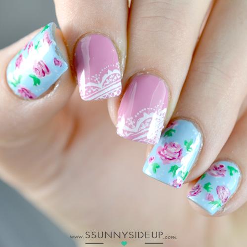 Vintage Nails: Ssunnysideup: Flower Vintage Nails