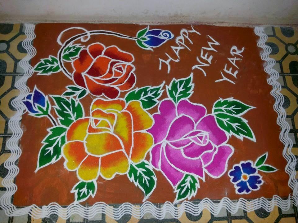 New year rangoli designs for Home rangoli designs