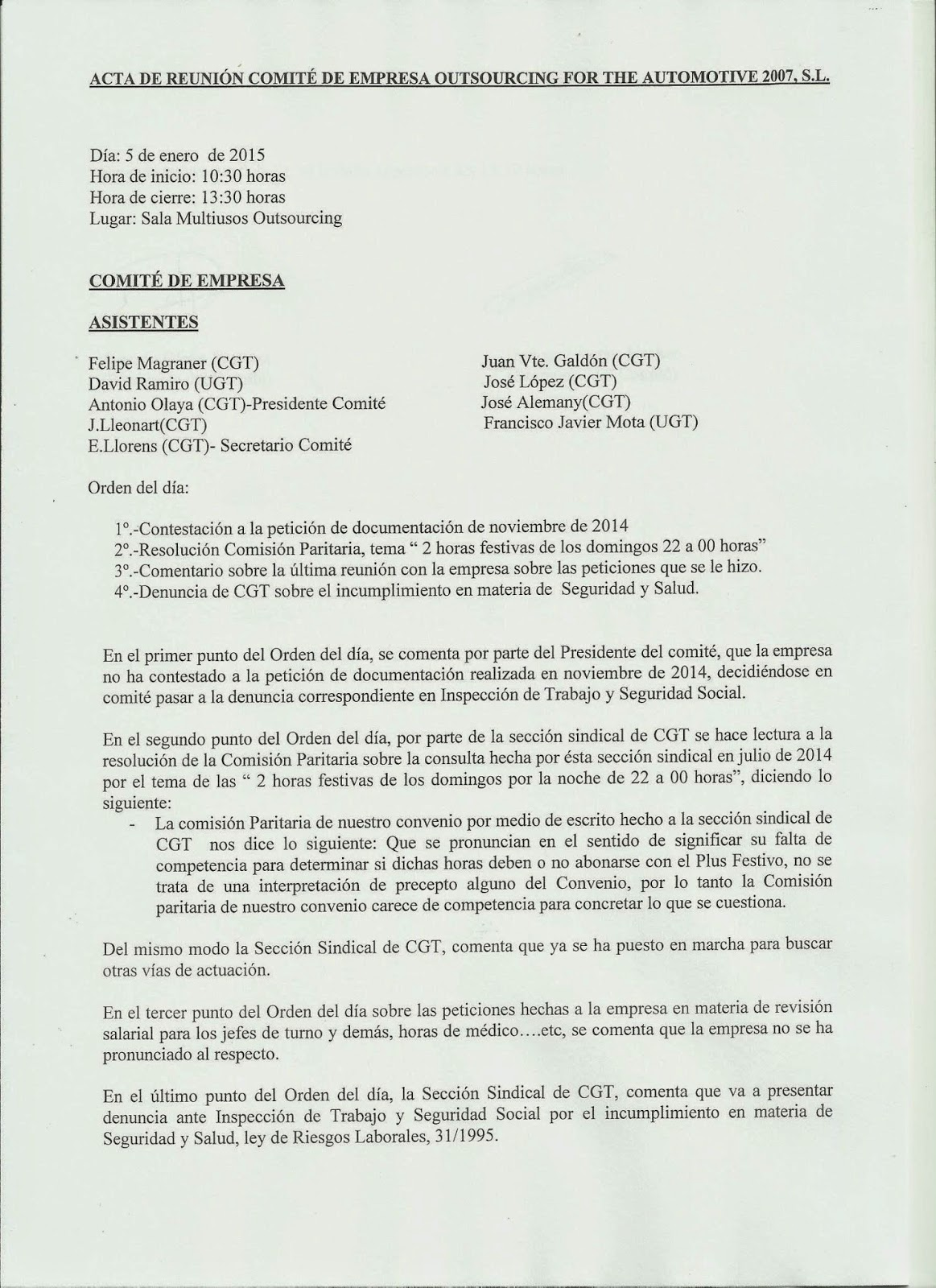 SECCIONSINDICAL CGT-OUTSOURCING: 2015
