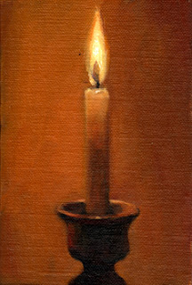 Oil painting of a lighted candle in a ceramic candlestick.
