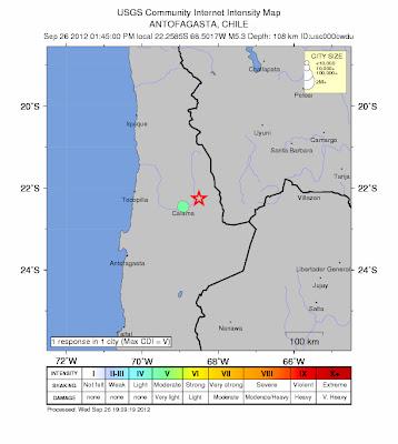 Epicentro sismo 5,3 grados, en el norte de Chile, 26 de Septiembre 2012