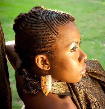 Natural Hairstyle with Tiny Cornrows