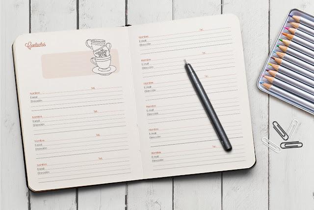 hoja de contactos Agenda 2016 para colorear