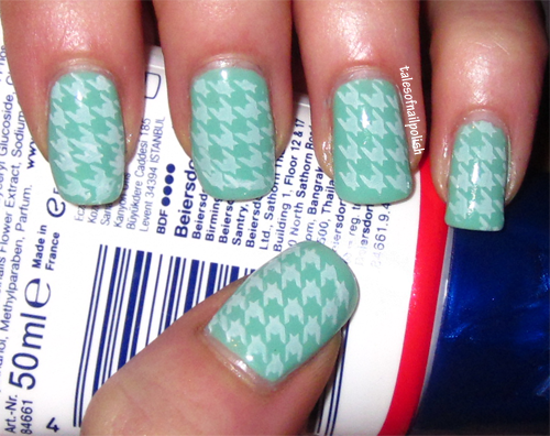 barry m green mint, opi alpine snow, konad m63