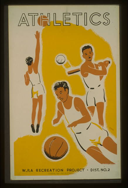 wpa, sports, federal art project, vintage, vintage posters, classic posters, retro prints, free download, graphic design, basketball, Athletics, WPA Recreation Project - Vintage Sports Poster